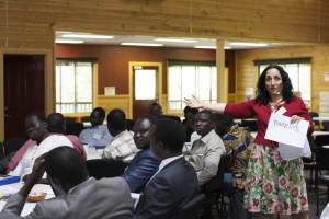 Denise hosting a workshop with refugees.
